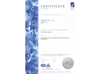 Vavatech ISO certificate