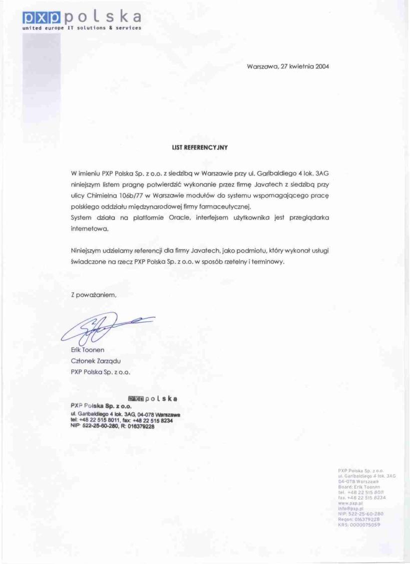 PXP Polska Sp. z o.o. - >Moduły systemu informatycznego