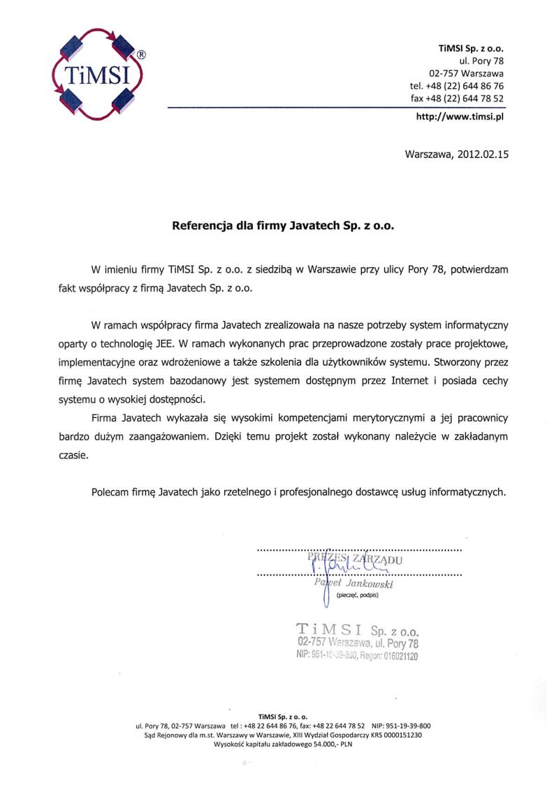 TiMSI Sp. z o.o.<br>System informatyczny w technologii JEE