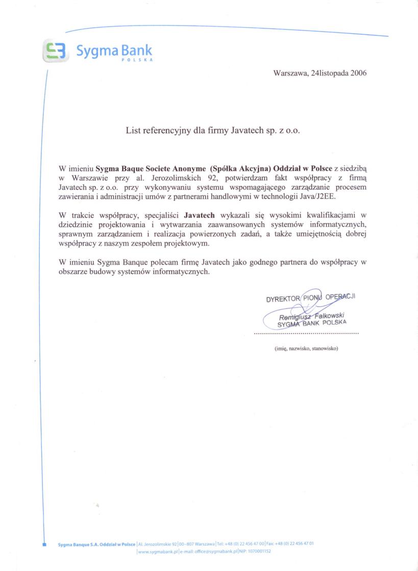 Sygma Bank Polska<br>System Zarządzania Umowami