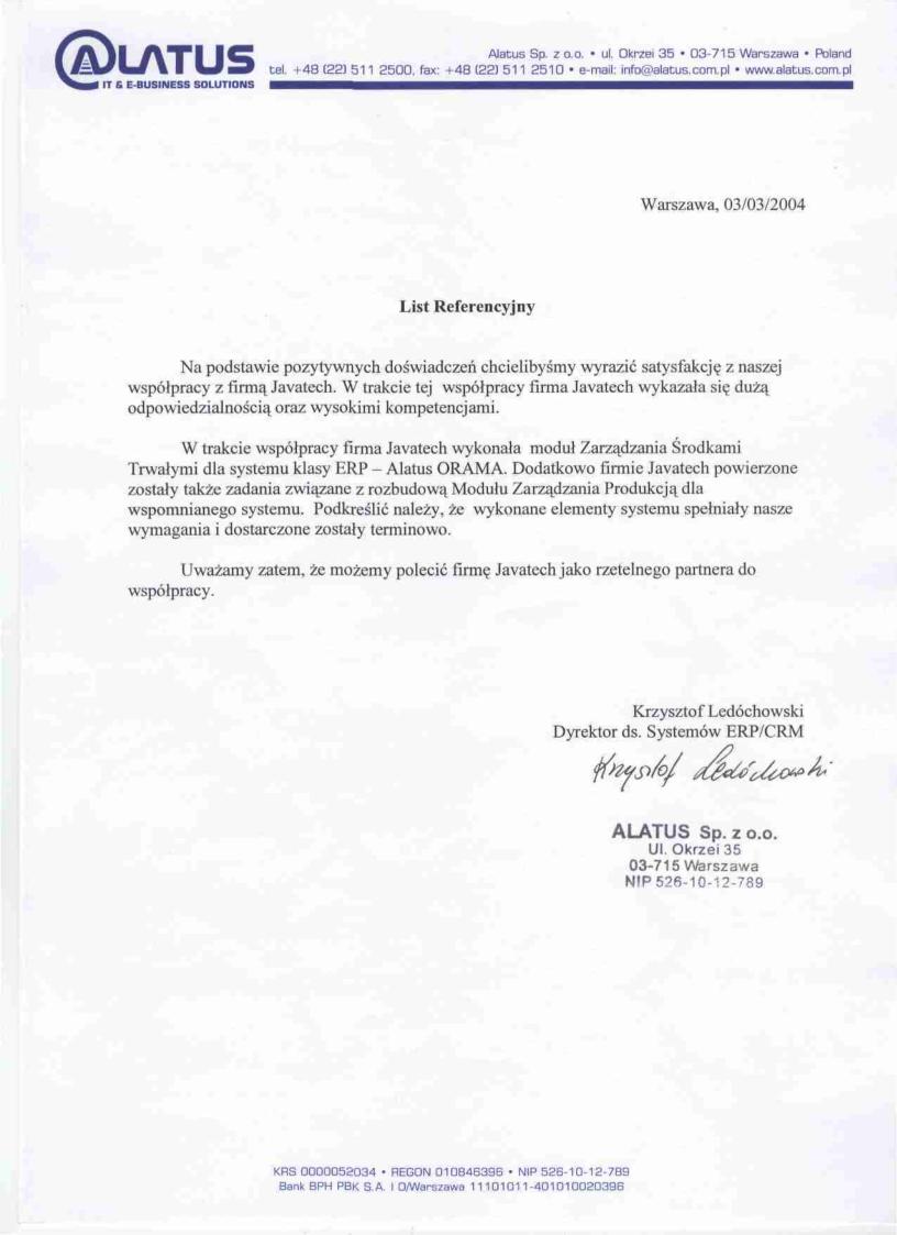 Alatus Sp. z o.o.<br>Zarządzanie Środkami Trwałymi w systemie klasy ERP