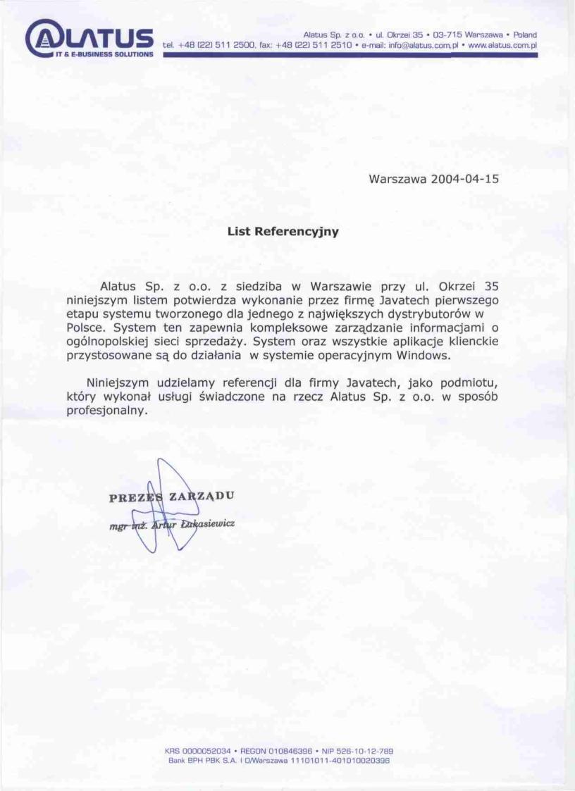 Alatus Sp. z o.o.<br>System Zarządzania Informacjami