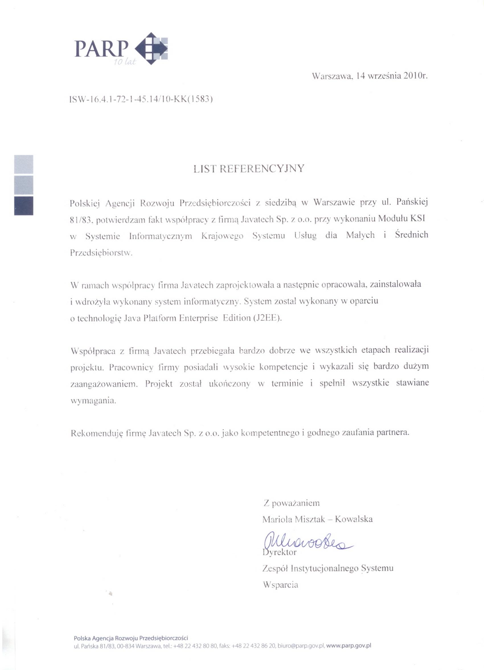 Polska Agencja Rozwoju Przedsiębiorczośc - Moduł KSI w SI KSU