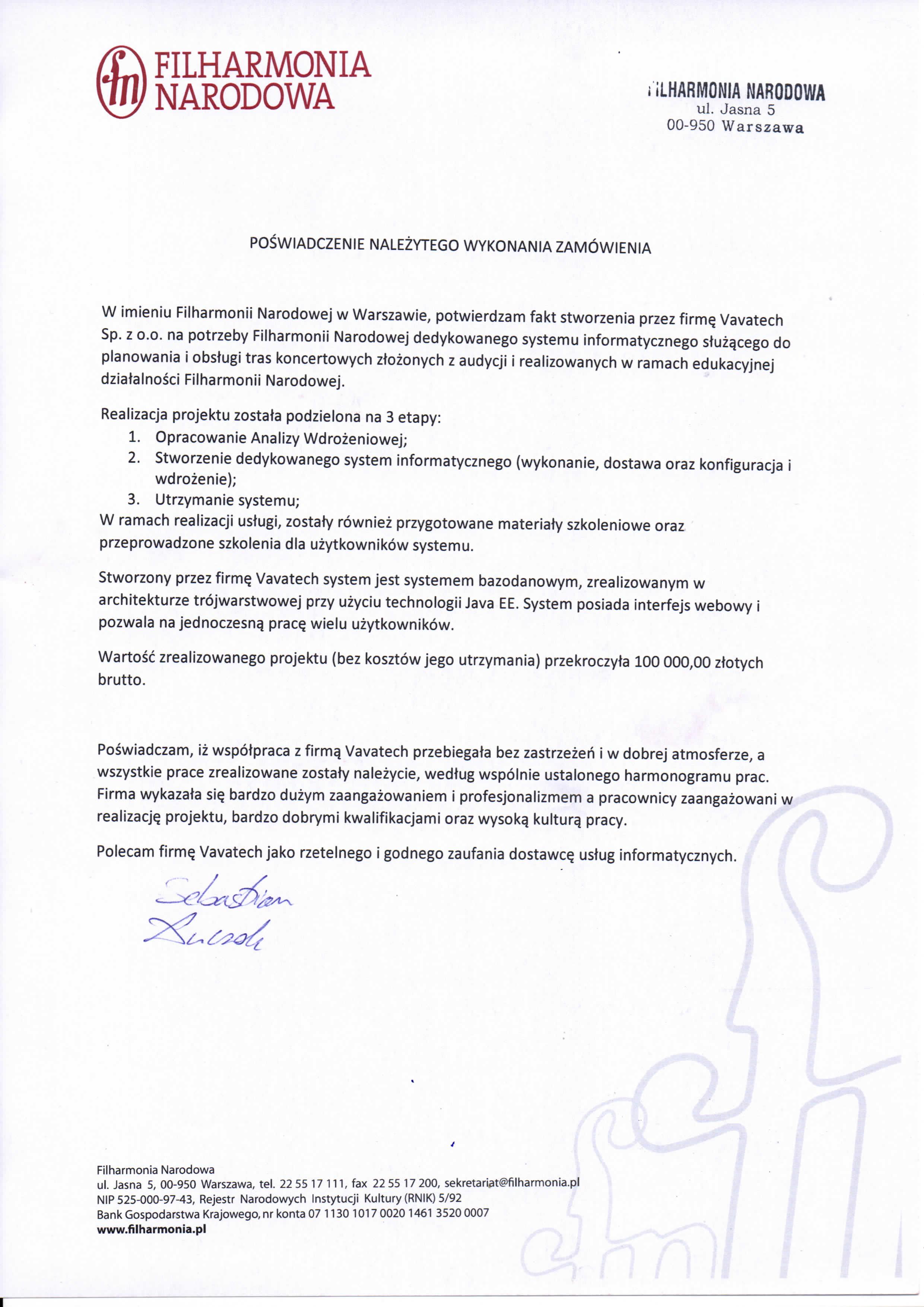 Filharmonia Narodowa: System obsługi tras koncertowych